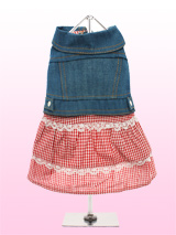 Denim Jacket / Red Gingham Dress - This dress would fit in just perfectly at a country and western show! A one-piece dress combination that looks like a top and skirt. The denim jacket has chrome poppers on its underside to make it easy to put on and take off. The jacket is matched with a lace trimmed tiered gingham skirt to give thi...
