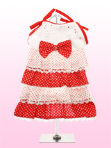 Red and White Polka Dot Dress - This is the prettiest sundress around! A sweet polka dot dress with four frilly lace trimmed layers in alternating red and white polka patterns. The broderie anglaise bodice and red polka dot bow make the dress the perfect package!