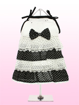 Black and White Polka Dot Dress - This is the prettiest sundress around! A sweet polka dot dress with four frilly lace trimmed layers in alternating black and white polka patterns. The broderie anglaise bodice and black polka dot bow make the dress the perfect package!