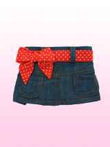 Denim Mini Skirt / Red Polka-Dot Belt - This blue denim mini skirt is super-cute! The skirt has two pockets and a velcro fastening that makes it easy to put on and take off. The red polka belt also has velcro fastening, making it easy to take on or off, or change the style completely.