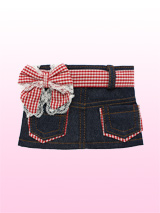 Denim Mini Skirt / Red Gingham Belt - This sparkly blue denim mini skirt is just so pretty! The skirt has two gingham trimmed pockets and a velcro fastening that makes it easy to put on and take off. The red gingham belt also has velcro fastening, making it easy to take on or off, or to change the style completely. Two looks in one!