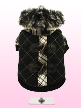 Luxury Black / White Duffle Coat with Detachable Hood - From our premium range of coats, this tartan coat is cosy yet versatile. It can be worn as seen, with the faux trimmed hood, to keep your pup snug. Or, remove the hood and wear it as a duffle coat. The elasticised arm and hem, alongside the velcro fastening all make for a great fitting coat. The sof...