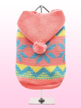 Alpine Hooded Sweater - This alpine inspired hooded sweater in pink and yellow is finished in a traditional Scandinavian snowflake pattern which is very appropriate for coming season. As the temperature drops this stylish sweater will keep your pup bang on trend and snug warm.