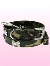 Green Camouflage Diamante Bone Collar & Lead Set - Bling meets Action Dog! This camouflage leather collar with a stitched edging has a crystal encrusted buckle with three bling sparkling diamante bones and a sparkling diamante charm to complete the look. This has to be the best of both worlds as bling melds with macho! Matching camouflage leather le...