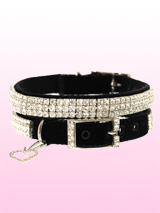Wizard Of Oz Velvet Black Swarovski Dog Collar - The Wizard Of Oz Velvet Black Swarovski Collar has 3 rows of diamond clear Swarovski rhinestones fixed to a sterling silver base and set on a jet black velvet collar. The clear crystals against the black background create a classic and timeless design that looks truly amazing. The collar is finished...