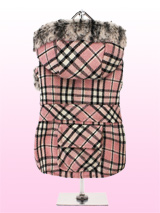 Pink Tartan Coat with Fur Trimmed Hood - This is quality woollen hooded coat makes a bold statement with its contemporary pink tartan design, it really is a proper girls coat. The cuffs and hem are finished in a beautifully soft faux fur and the lining of the coat is a pink quilted satin, truly luxurious, there is even a pocket on the back...