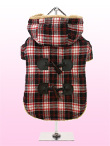Red / Black Tartan Teddy Bear Duffle Coat - A beautiful tartan Duffle coat that any Teddy Bear would be proud of, it features a toggle fastening with a contrast black check yoke to the back. It is fleece lined to keep your pup cosy and snug, not to mention on trend and a serious style icon. Four poppers on the underbelly allow for fast and ea...
