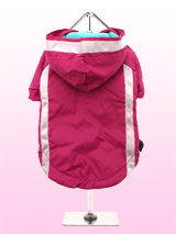Fuschia Fleece-lined Raincoat - Protect your pup from the rain with this waterproof fleece-lined raincoat in vivid Fuschia. The adjustable draw string hood will keep the raincoat snug to your pup's face, there are two more drawstrings on the arms and hem that will allow you to get a nice tight fit to keep the body warm and dry, so...