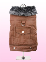 Tan Leather Coat with Fur Collar - Soft feel tan leather coat with black fur collar. The fur collar and fibre lining will keep you pup snug and warm. Front fastening is three poppers which makes it very easy to take on and off and the back features a D-Ring and a snap shut pocket.