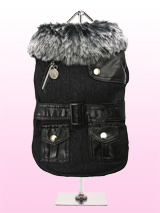 Black Fabric Coat with Fur Collar & Leather Belt - This is a really smart fabric coat with black leather accessories, fibre lining, elasticised arms and a black / grey fur collar for a warm snug fit. There are two pockets on the coat, black leather shoulder detailing and belt / buckle gives it a really trendy look. There are three poppers for openin...
