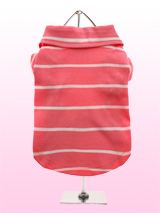 Pink Striped Polo Shirt - Anyone for golf? This is a classic fitting pink - striped polo shirt in breathable durable cotton mesh. The polo shirt has an open neck collar for that smart yet relaxed look.