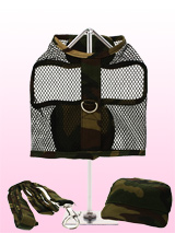 Camouflage Netted Harness, Lead & Matching Cap - This camouflage harness is made from strong and durable nylon netting. It has a sturdy reinforced D-Ring and a double sized / double strength velcro for secure fastening. Matching lead and cap included to compliment the set.