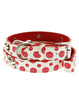 Red / White Polka Dot Glitter Silver Bone Collar & Lead Set - This striking red and white leather collar with stitched edging has a hint of glitter, finished with three chrome bones and will look great for walkies. A very smart addition to the wardrobe of any trendy pooch. Matching leather lead has silver clip with red and white polka dot glitter pattern and f...