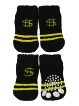 Black / Yellow ''Dollar'' Pet Socks - These fun and functional doggie socks protect your dogs paws from mud, snow, ice, hot pavement, hot sand and other extreme weather. Made from 95% cotton & 5% spandex making them comfortable and secure. Each sock features a paw shaped anti-slip silica pad & help keep your house sanitary.