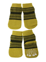 Yellow-Green Striped Pet Socks - These fun and functional doggie socks protect your dogs paws from mud, snow, ice, hot pavement, hot sand and other extreme weather. Made from 95% cotton & 5% spandex making them comfortable and secure. Each sock features a paw shaped anti-slip silica pad & help keep your house sanitary.