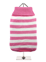 Pink & White Candy Stripe Sweater - Nothing spells out fun more than a candy stripe sweater, on these cold days and nights it brings a ray of sunshine into dull days. But it has to be practical and keep the wearer snug and warm which it does with style and panache.
