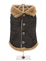 Brown Leather Flying Jacket  - Our Luxury Brown Faux Leather Flying Jacket has to be the ultimate in dog coats. Made famous by the fighter pilots of World War 2 and they have been in demand ever since. The front buttons make it very easy to take on and off while, the faux fur edging and pockets give it a real authentic look and f...