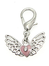 Angel Wings / Heart Dog Collar Charm - An angel's wings symbolises protection and the heart is the universal symbol of love showing how much you love and cherish your pup. This charm is beautifully finished with a pink enamel heart flanked with silver plated wings. Attaches to any collar's D-ring with a lobster clip. Measures approx. 3.4...