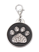 Black Enamel / Diamante Paw Dog Collar Charm - If you are looking for bling then look no further. Our Black Enamel / Diamante Paw Dog Collar Charm is encrusted with diamantes set against a beautiful black enamel background. It attaches to any collar's D-ring with a lobster clip. The perfect accessory to add bling to your dog's collar.