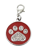Red Enamel / Diamante Paw Dog Collar Charm - If you are looking for bling then look no further. Our Red Enamel / Diamante Paw Dog Collar Charm is encrusted with diamantes set against a beautiful red enamel background. It attaches to any collar's D-ring with a lobster clip. The perfect accessory to add bling to your dog's collar.
