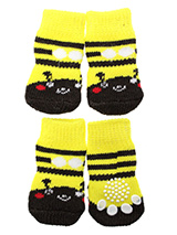 Bumblebee Pet Socks - These fun and functional doggie socks protect your dogs paws from mud, snow, ice, hot pavement, hot sand and other extreme weather. Made from 95% cotton & 5% spandex making them comfortable and secure. Each sock features a paw shaped anti-slip silica pad & help keep your house sanitary. (set of 4).