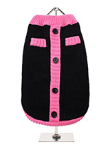 Black & Pink Mod Sweater - Urban Pup's 1960s Mod stripe panel cardigan conjures up images of 1960s style. This cool knit pullover cardigan celebrates the revival of this cool style. Cute purple faux buttons work perfectly against the classic black wool blend fabric. A truly stylish Autumnal Vintage inspired pullover cardigan...