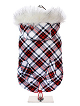 Red & White Plaid Tartan Fish Tail Parka - This plaid tartan fish tail parka is inspired by the traditions of the Highlands of Scotland. It is a quality, multi-layered piece of clothing that will keep the heat in and the cold out. Our classic collection of Parka coats and accessories will see your dog through the season ahead and beyond. It...