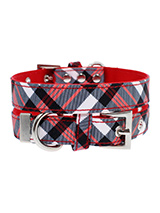 Red & White Plaid Fabric Collar - Our Red & White Plaid Tartan Collar is a traditional design which is stylish, classy and never goes out of fashion.. It is lightweight and incredibly strong. The collar has been finished with chrome detailing including the eyelets and tip of the collar. A matching lead, harness and bandana are avail...