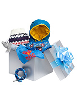 Pampered Boy Luxury Gift Box Hamper - A perfectly gift for that spoilt little boy, our gift-wrapped luxurious Gift Box Set features a preferred collection of ''Dashing in Blue'' clothing. Presented in a silver blue box with a large blue ribbon this is the perfect gift for a new pup or a birthday boy, it's sure to make an impression.