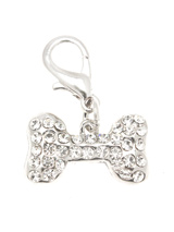 Diamante Bone Collar Charm - Stunning Diamante Bone Charm (embellished with 34 Czech Stones) attaches to any collar's D-ring with a lobster clip. Diamante Bone Charm measures approx. 1'' / 2.5cm wide.